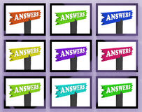 Answers Signs On Monitors Showing Assistance Stock Photo