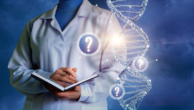 Answers to the questions in the study of DNA. Royalty Free Stock Photos