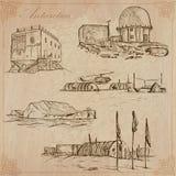 A Antártica: Curso em todo o mundo Desenhos do vetor