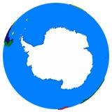 A Antártica no mapa político da terra Fotos de Stock Royalty Free