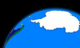 A Antártica no mapa político da terra do planeta Fotografia de Stock Royalty Free