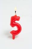 antänt nummer för stearinljus fem Royaltyfri Bild