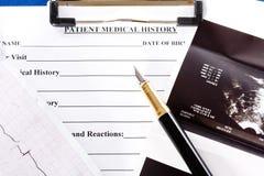 Antécédents médicaux Photo stock