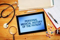 Antécédents médicaux personnels du patient, concept de soins de santé Photographie stock libre de droits