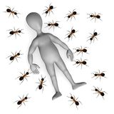 Ant. 3d render of cartoon character with ant Stock Photo