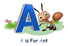 Ant with alphabate. 3d rendered illustration of Ant with alphabate Stock Photos