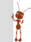Ant with a blank board Royalty Free Stock Images