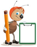 Ant builder holds clipboard and large pencil. Illustration in vector format Royalty Free Stock Photo