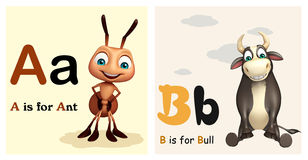 Ant and Bull with Alphabate. 3d rendered illustration of Ant and Bull with Alphabate Royalty Free Stock Image