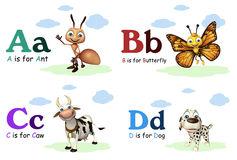 Ant, Butterfly, Caw and Dog with Alphabate Royalty Free Stock Images