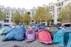 Ant-capitalism protest, London. Tents of anti-capitalist protestors outside St Paul's cathedral, London (nov 2011 Royalty Free Stock Photos