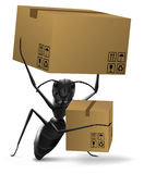 Ant cardboard box deliver or shipping. Ant carrying two cardboard box order delivery sending by post or moving into new home concept shipping from online shop royalty free illustration