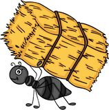 Ant carrying a bale of hay Stock Images