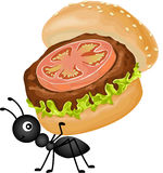 Ant carrying a burger. Scalable vectorial image representing a ant carrying a burger, isolated on white Stock Photo