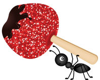 Ant carrying candied apple Stock Photography