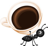 Ant carrying a cup coffee Stock Photo