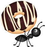 Ant Carrying Donut Royaltyfri Foto