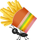 Ant carrying a french fries in stripes packaging Royalty Free Stock Photo