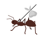 Ant Carrying Her Baggage on Branch. Brown ant carrying her baggage on tree branch. Ant icon. Ant holding branch. Insect icon. Termite icon. Isolated object in Royalty Free Stock Images