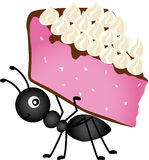 Ant carrying slice cake Royalty Free Stock Photo