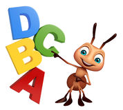 Ant cartoon character  with ABCD sign. 3d rendered illustration of Ant cartoon character with ABCD sign Stock Photography