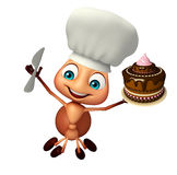 Ant cartoon character with cake and chef hat. 3d rendered illustration of Ant cartoon character with cake and chef hat Stock Photos