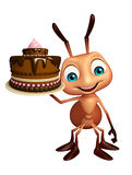 Ant cartoon character with cake. 3d rendered illustration of Ant cartoon character with cake Royalty Free Stock Photo