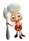 Ant cartoon character with chef hat and spoons. 3d rendered illustration of Ant cartoon character with chef hat and spoons Royalty Free Stock Photography
