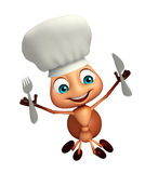 Ant cartoon character with chef hat and spoons. 3d rendered illustration of Ant cartoon character with chef hat and spoons Stock Photos