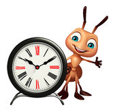 Ant cartoon character with clock. 3d rendered illustration of Ant cartoon character with clock Royalty Free Stock Photos