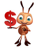 Ant cartoon character with doller sign. 3d rendered illustration of Ant cartoon character with doller sign Royalty Free Stock Photos