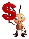 Ant cartoon character with doller sign Stock Images