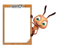 Ant cartoon character with exam pad. 3d rendered illustration of Ant cartoon character with exam pad Stock Photography