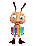 Ant cartoon character with files. 3d rendered illustration of Ant cartoon character with files Royalty Free Stock Photos