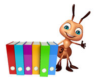 Ant cartoon character with files. 3d rendered illustration of Ant cartoon character with files Royalty Free Stock Image