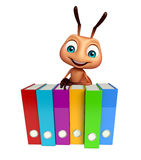 Ant cartoon character with files. 3d rendered illustration of Ant cartoon character with files Royalty Free Stock Photo