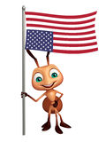 Ant cartoon character with flag. 3d rendered illustration of Ant cartoon character with flag Stock Photo