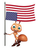 Ant cartoon character with flag. 3d rendered illustration of Ant cartoon character with flag Stock Image