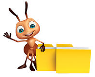 Ant cartoon character with folder. 3d rendered illustration of Ant cartoon character with folder Stock Photography