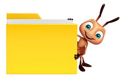Ant cartoon character with folder. 3d rendered illustration of Ant cartoon character with folder Royalty Free Stock Images