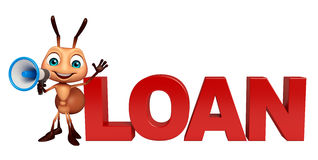Ant cartoon character  with loan sign and loudspeaker Stock Photos