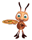 Ant cartoon character with pizza. 3d rendered illustration of Ant cartoon character with pizza Stock Photography