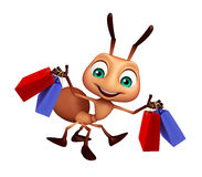 Ant cartoon character with shopping bag. 3d rendered illustration of Ant cartoon character with shopping bag Stock Images