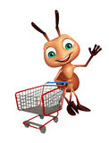 Ant cartoon character with trolly. 3d rendered illustration of Ant cartoon character with trolly Royalty Free Stock Photo