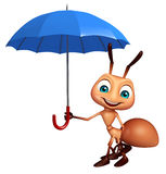 Ant cartoon character with umbrella. 3d rendered illustration of Ant cartoon character with umbrella Stock Images