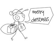Ant Cartoon Christmas Illustration BW Stock Afbeelding