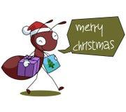 Ant Cartoon Christmas Illustration rojo Imagen de archivo libre de regalías