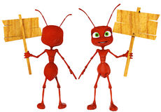 Ant cartoon holding a sing close up. Ant cartoon good image for team work Royalty Free Stock Image