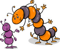 Ant and caterpillar cartoon illustration. Cartoon Illustration of Ant and Caterpillar or Millipede Insects Characters Stock Image