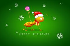 Ant celebrating Christmas Royalty Free Stock Photography